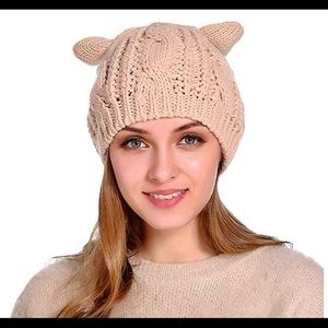 Accessories - NWOT Beanie With Ears, Cable Knit In Beige